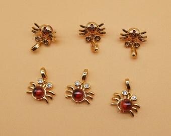 Gemstone bug charm - big hole charm, big hole beads, Gemstone pendant, Bug charm, Spider Charm, Rhinestones charms, Halloween Charm