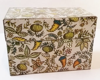 Vintage Metal Lithograph Recipe Card File Box Holder Tin Vegetable Grocery print