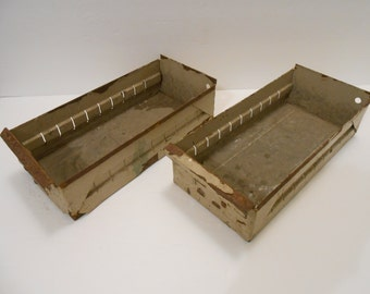 Two Distressed Metal Drawers with Side Slits on Left and Rights from the 60's-70's