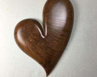 Personalized wooden heart Anniversary present Madrone wood carving special Wedding gift by Gary Burns the treewiz handmade woodworking