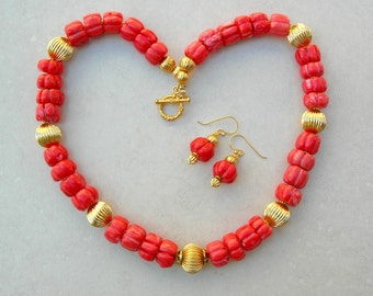 Fabulous Old Natural Coral Melon Beads, Fancy 24K Gold Focal Bead, Gold-Plated Corrugated Beads, Investment Necklace Set by SandraDesigns