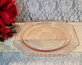 Vintage Pink Mayfair Open Rose Lunch Plate, Pink Depression Glass Dinnerware, 1930's Hocking Glass Company, Antique Pink Kitchen Glass