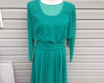 Teal Chiffon Overlay Formal Dress