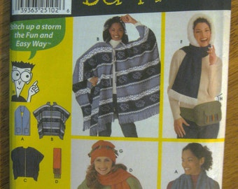 Simplicity 9822 Easy Sewing Pattern Wrap, Poncho, Scarf, Hat, Bag