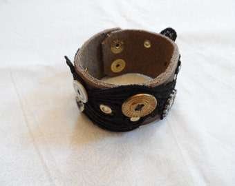 Leather and Lace Wrist Band - 7.5 inches - buttons, gears, rivets, snaps