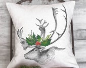 Christmas Pillow Cover Holiday Woodland Reindeer