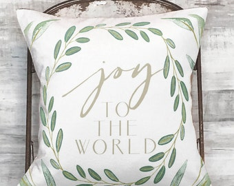Christmas Pillow Cover Holiday Joy to the World