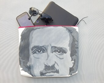 "EVERYTHING BAG Poe Raven zippered case tablet cosmetic makeup 9""x12""x2.5"" travel toiletry purse organizer painted lined washable clutch"