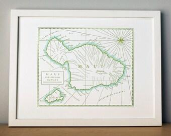 Maui, Hawaii, Letterpress Printed Map (Olive Green)