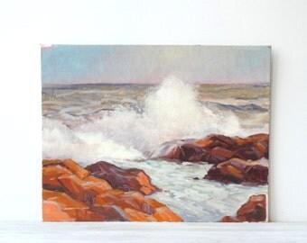 Vintage Seascape Painting, Original Nautical Hand Painted Ocean Waves Artwork Wall Art