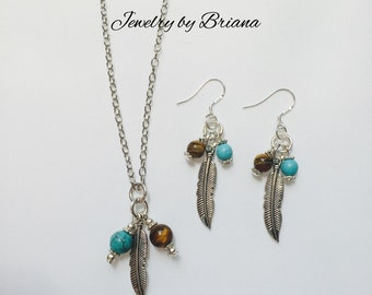 Turquoise and Tiger Eye with Feather Charm Necklace and Earring Set