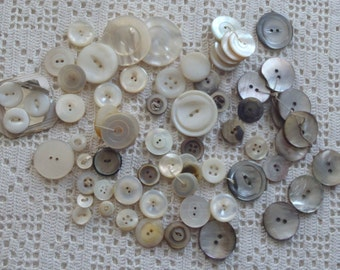 Vintage Mother of Pearl Buttons 60 Pc.