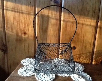 Vintage Wire Basket Purse Shabby Chic Rustic Wall Decor