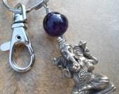 Ganesha,Ganesh Keychain,Bag Charm,Bag Clip, Hindu Gift,Yoga Accessories, Yoga Teacher Gift,12 Step Gift,Recovery Gift, Hindu God, Wealth OM