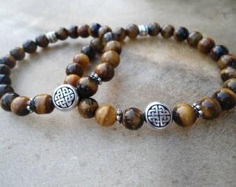 Couples Bracelets Matching Friends Bracelets Celtic Knot Tigerseye Bestie Gift Wedding Gift Anniversary Gift Tigers Eye Symbolic Bracelets