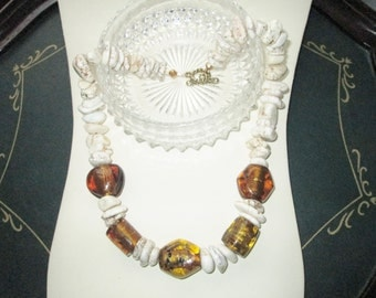 Amber Lights Diva Necklace - Amber Indian Glass and Howlite Beads - OOAK - Summer Piece - Chic and Classy - Beach Diva - Cruise - Versatile