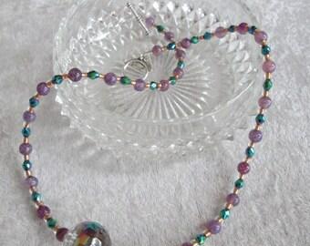 Meet Me on Bourban Street - Mardi Gras Diva Necklace - Czech Glass Focal Bead - Purple Agate - Chic - Feminine - Classy