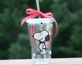 Personalized Snoopy 16oz Insulated cup with polka dots