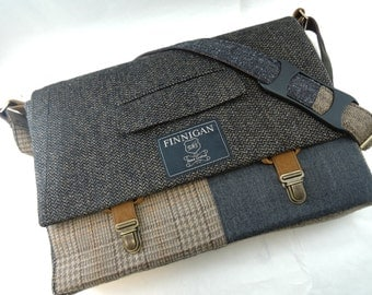 """Messenger Bag, Mens 15"""" Womens laptop Messenger Bag , 15""""  Macbook Pro FREE US SHIPPING tote bag, Suit coat Upcycled bag, Ready to Ship"""