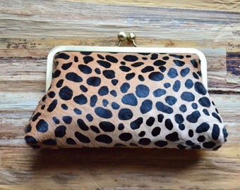 Genuine Fur Calf Hair AnimalPrint Clutch Purse Bridesmaid Gift Leather Clutch Handbag Bag Handmade Hobo Bohemian Christmas Gift