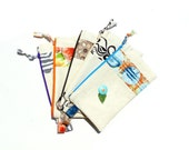 Cosmetic bag, zipper top pouch, orange blue, bridesmaids gifts, slim clutch, travel storage, makeup case, linen clutch, gadget case