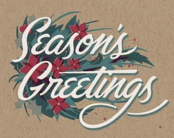 "Season's Greetings Holiday Print - 8"" x 10"" Art Print on 100# French Speckletone Kraft Cover, Vintage-Inspired"