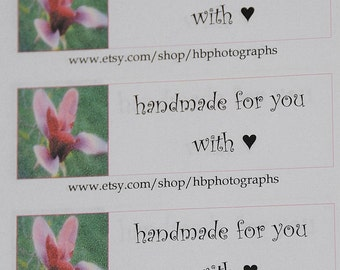 Handmade with Love Stickers, Handmade with Love Labels, Handmade Labels, Customer Labels, Custom Shop Labels