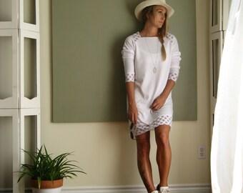 Minimalist Sweatshirt Dress Athleisure Wear Long Raglan Sleeve Tunic Loose Oversize Sweater Sheer Detail XS - XL Lightweight French Terry