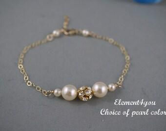 Pearl Rhinestone Bridal Bracelet, Bridal Wedding Jewelry, Bride, Maid Of Honor, Bridesmaids, Swarovski White Ivory Pink pearls, Bridesmaid