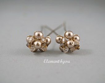 Wedding hair pins champagne Brown hair pins Gold bridal hair accessories Swarovski pearls crystals Fall Wedding hair Fascinator Set of 2