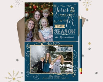 Jesus is the Reason Chrsitmas Photo Card · blue, gold & silver glitter Christmas Cards · Double sided