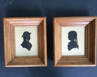 Vintage Framed Sillouettes Set Young Boy and Girl