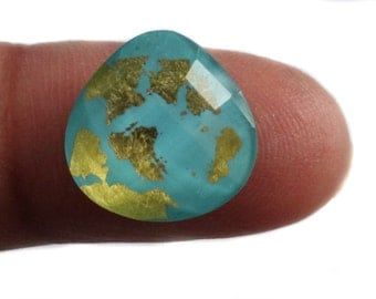 Turquoise Briolette, 11.80 x 11.83 mm ,Turquoise Doublet With Quartz And 24k Real Gold Flakes, Drilled Turquoise, DECEMBER  BIRTHSTONE