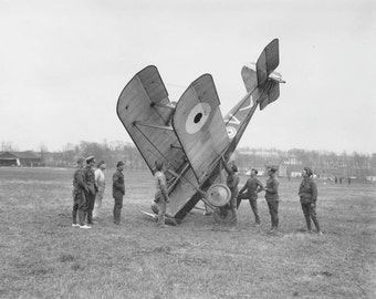 Oops! Airplane Accident WWI 1918 Australian British Squadron Military Aircraft World War Edwardian Airmen Vintage Photography Photo Print