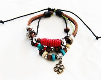 Leather Cuff Boho Bracelet, bohemian, boho bracelet  B004