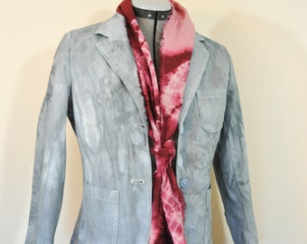 Grey XS Cotton JACKET - Silver Gray Dyed Upcycled Old Navy Cotton Blazer Jacket - Adult Women Size Extra Small (36 chest)