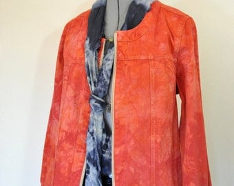 "Red Orange Medium Cotton JACKET - Fire Red Dyed Upcycled Blaire Cotton Blazer Jacket - Adult Women Size Large (42"" chest)"