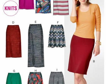 Pull-on Skirts Pattern, Straight Skirt Pattern, Long Skirt Pattern, Stretch Knit Skirt Pattern, McCall's Sewing Pattern 6654