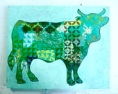 SALE - Green Cow Mixed Media Original Painting Gifts Under 50 Dark Green Light Green Grass Green Avacado Green Farmer Gifts Farm Animals