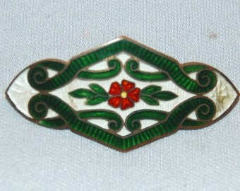 Vintage / Antique / Victorian / Brooch / Silver / Enamel / C Clasp / Bar Pin / old / jewelry / jewellery