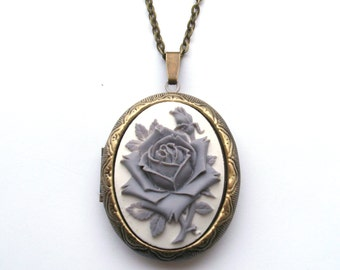 Gray Rose Locket, Flower Locket, Rose Cameo Locket Necklace, Gray and White Rose, Monochrome, Antiqued Bronze or Gunmetal Finish