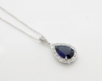 Sapphire Blue Bridal Necklace Large Dark Sapphire Blue Cubic Zirconia Teardrop Pendant Something Blue Wedding Necklace Wedding Jewelry, Aoi