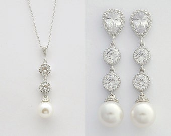 Bridal Pearl Jewelry Set Wedding Pearl Jewelry Bridal Earrings and Necklace Set Swarovski Pearl Wedding Earrings, Kaitlyn
