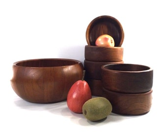 vintage 70s carved teak wood salad bowl set danish modern dining dinnerware large deep decorative home decor boho rustic natural woodgrain