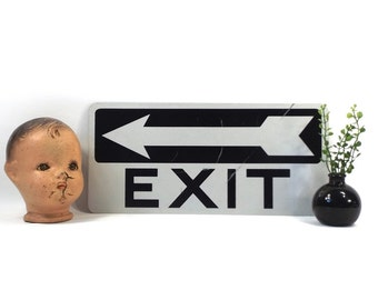 vintage 90s metal exit sign industrial street black on white rectangular wall hanging urban direction arrow home decor decorative man cave