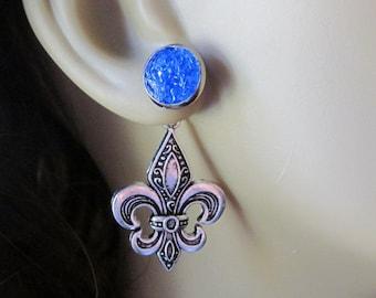 Fleur de lis Earrings French Flag Earrings Navy Blue Stud Earrings Silver Fleur de lis Studs Behind Ear Earrings Front Back Earrings