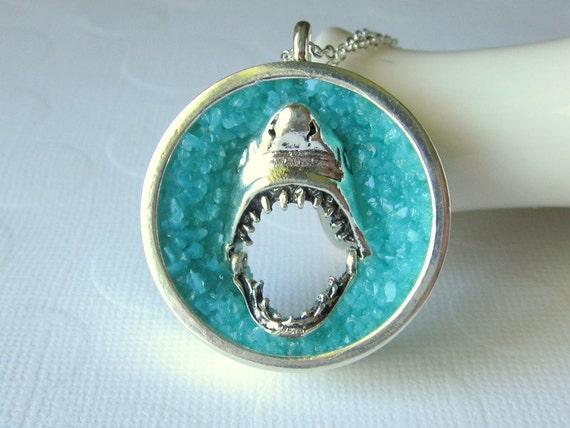 Shark Necklace Great White Necklace Jaws Necklace 3D Shark Pendant Silver Sea Blue Geode Necklace Hollow Shark Charm Large Sea Glass Shark