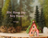 The MINI Fairy Houses of Mossy Lane - Handcrafted Raspberry Pink Chalet Style N Scale Cottage w/ Mossy Roof, Flower Boxes and Wooden Door