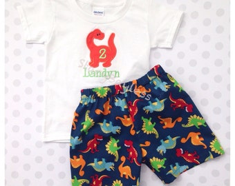 Dino Shirt and Short Set for Dinosaur 2nd Birthday Outfit - for Toddler Boys