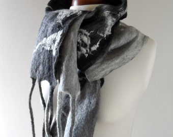 Long Felted Scarf - Black and White - Wide Fringed Scarf